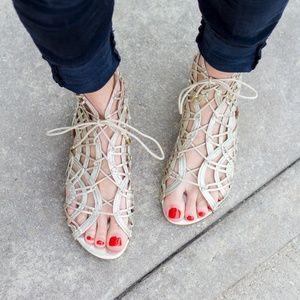 Joie Renee Metallic Gold Caged Flat Sandals 8